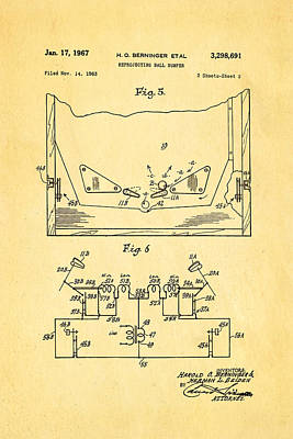 Flippers Photograph - Berninger Reprojecting Ball Bumper 2 Patent Art 1967 by Ian Monk