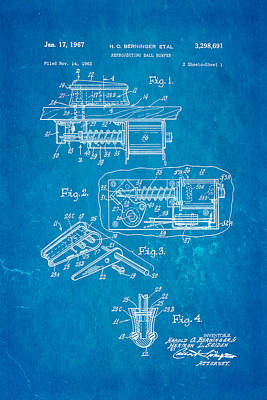 Berninger Reprojecting Ball Bumper Patent Art 1967 Blueprint Art Print by Ian Monk