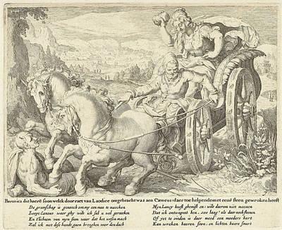 Vengeance Drawing - Beronica Vengeance With A Stone, Zacharias Dolendo by Jacob De Gheyn (ii) And Claes Jansz. Visscher (ii)