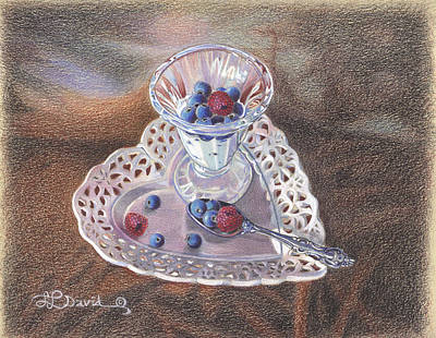 Berries And Cream Art Print by Lidia Penczar