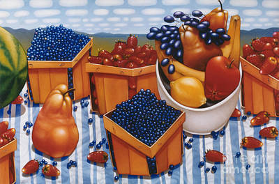 Blueberry Painting - Berries And Fruit 1997  Skewed Perspective Series 1991 - 2000 by Lawrence Preston