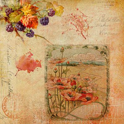Berries And Poppies Art Print