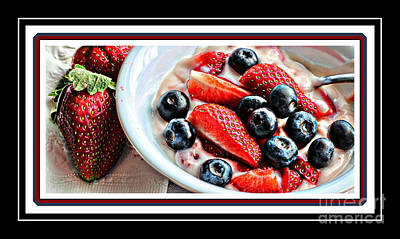 Tangy Digital Art - Berries And Yogurt Intense - Food - Kitchen by Barbara Griffin