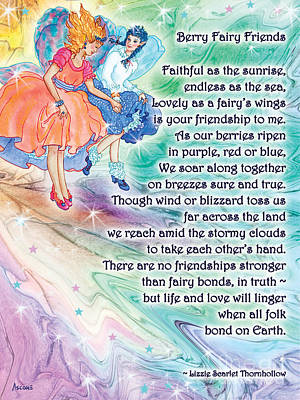 Fairy Poem Wall Art - Painting - Berry Fairy Friends Poem by Teresa Ascone