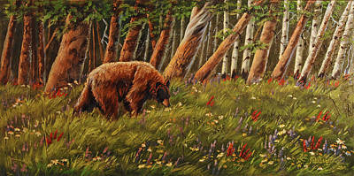 Bear Painting - Berry Pick'n Bear by Lori Salisbury