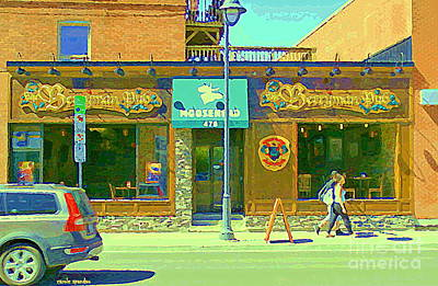 Painting - Berryman Pub The Glebe Sport Bar Burger Joint Old Ottawa Pub Scene Storefront Cafe Painting Cspandau by Carole Spandau