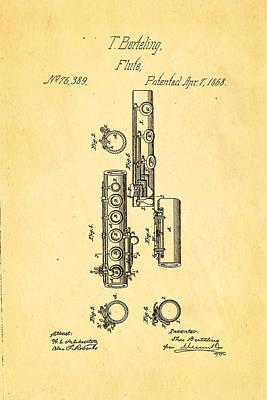 Flute Art Photograph - Berteling Flute Patent Art 1868 by Ian Monk