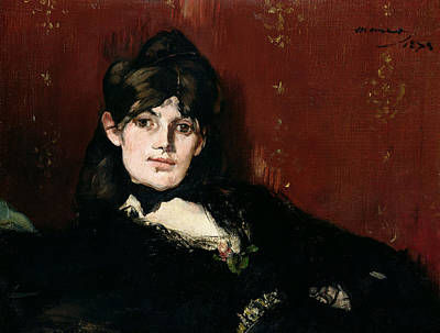 Of Painter Photograph - Berthe Morisot 1841-95 Reclining, 1873 Oil On Canvas by Edouard Manet