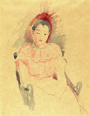 Morisot Drawing - Berthe Morisot, French 1841-1895, Girl Seated by Litz Collection
