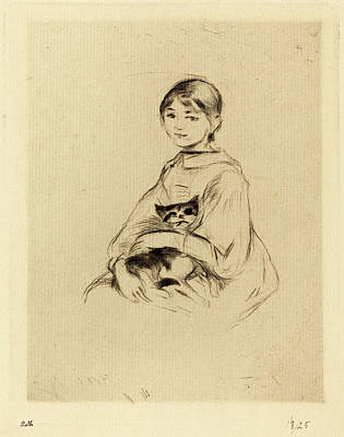 Berthe Drawing - Berthe Morisot French, 1841 - 1895, Little Girl With Cat by Quint Lox