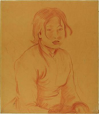 Berthe Drawing - Berthe Morisot French, 1841 - 1895, Peasant Girl by Quint Lox