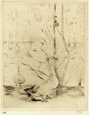Berthe Drawing - Berthe Morisot French, 1841 - 1895, Walk In The Boulougne by Quint Lox