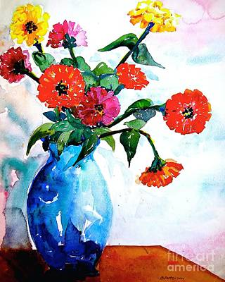 Painting - Bert's Blue Vase  by Nancy Patterson
