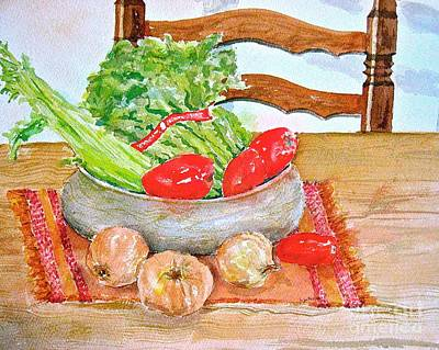 Painting - Bert's Bowl Of Vegetables  by Nancy Patterson