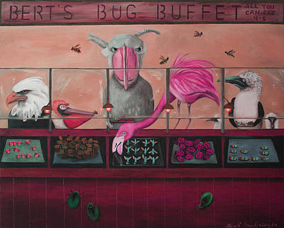 Boobies Painting - Bert's Bug Buffet Edit 2 by Leah Saulnier The Painting Maniac
