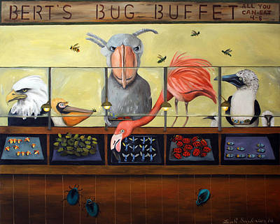 Boobies Painting - Bert's Bug Buffet by Leah Saulnier The Painting Maniac