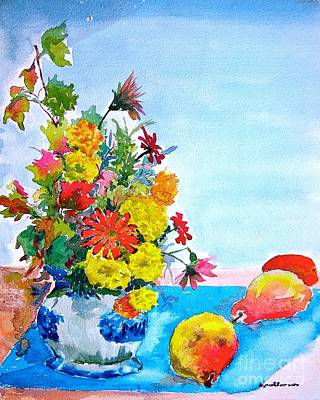 Painting - Bert's Flowers And Pears by Nancy Patterson