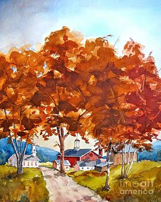Painting - Bert's Village In Autumn  by Nancy Patterson