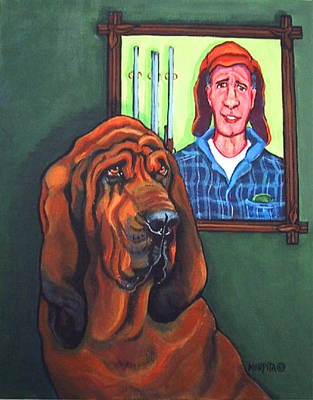 Painting - Bloodhound - Bervil And Blue by Rebecca Korpita