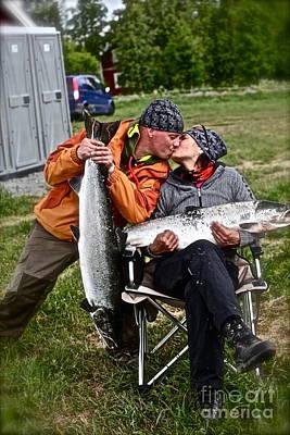 Besame Mucho . Salmon Love Story. Art Print by  Andrzej Goszcz