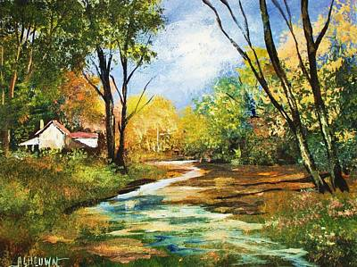 Art Print featuring the painting Beside The Stream by Al Brown