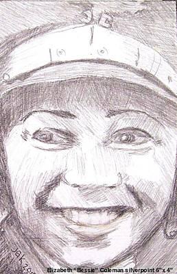 Metal Point Drawing - Bessie Coleman Smiling by Judi Geer Kellas