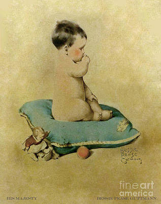 Artful And Whimsical Digital Art - Bessie Pease Gutmann His Majesty Baby On A Blue Pillow With Doll And Ball by Pierpont Bay Archives