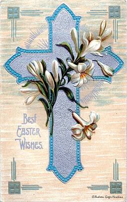 Photograph - Best Easter Wishes 1912 Vintage Postcard by Audreen Gieger
