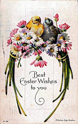 Photograph - Best Easter Wishes To You 1909 Vintage Postcard by Audreen Gieger