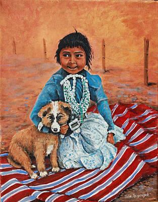 Navajo Children Painting - Best Friend by Julie Townsend