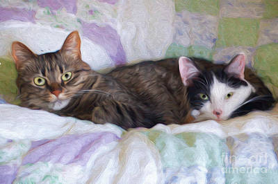 Andee Design Kitties Mixed Media - Best Friends  by Andee Design