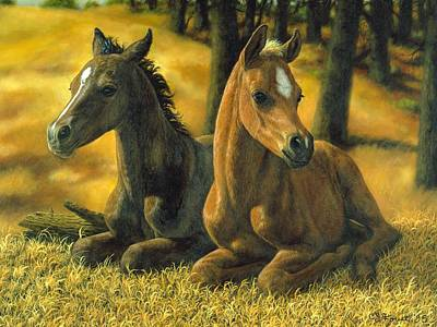 Chestnut Horse Painting - Best Friends by Crista Forest