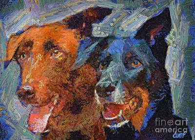 Dogs Painting - Best Friends by Dragica  Micki Fortuna