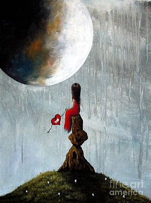Large Moon Painting - Best Friends Forever By Shawna Erback by Shawna Erback