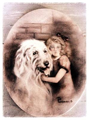 Cute Puppy Painting - Best Friends Forever - Vintage Collection by Beverly Pegasus
