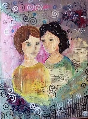 Gel Pen Painting - Best Friends by Helen Bowman