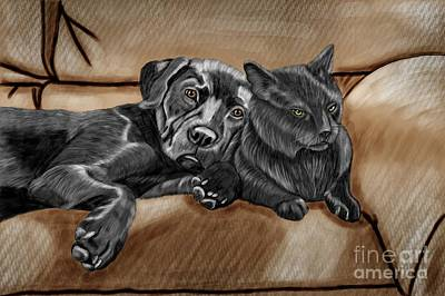 Best Friends Print by Karen Sheltrown