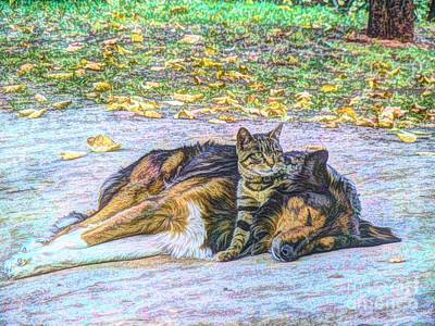 Cats And Dogs Digital Art - Best Friends by Lilian F Norris