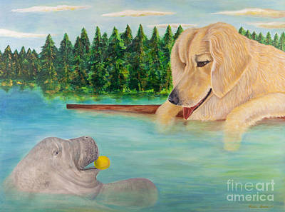 Dog Play Sea Painting - Best Friends by Robin Grace