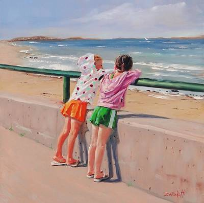 Little Girl On Beach Painting - Best Friends Two by Laura Lee Zanghetti
