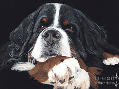 Puppies Painting - Best In Black by Liane Weyers