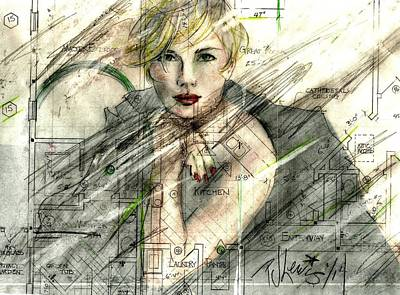 Beautiful Girl Drawing - Best Laid Plans... by P J Lewis