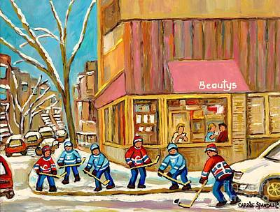 Afterschool Hockey Montreal Painting - Best Sellers Original Montreal Paintings For Sale Hockey At Beauty's By Carole Spandau by Carole Spandau