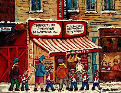 Best Selling Original Montreal Paintings For Sale After The Hockey Game At Schwart's Deli Cspandau Original by Carole Spandau