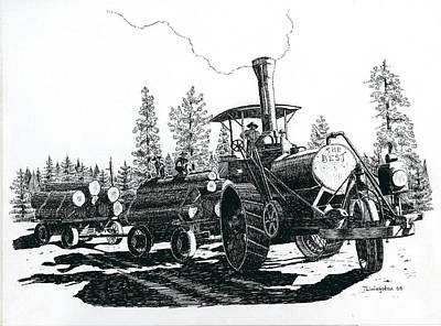 Drawing - Best Steam Traction Engine by Timothy Livingston