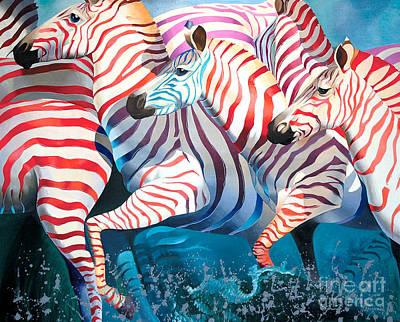South Africa Zebra Painting - Best Wishes by Tatyana Binovska