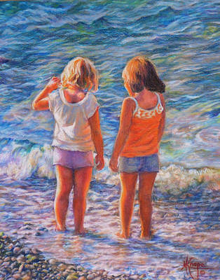 Painting - Besties At The Beach by Mary Knape
