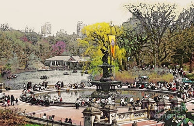 Water Fountain Digital Art - Bethesda Fountain Central Park Nyc by Linda  Parker