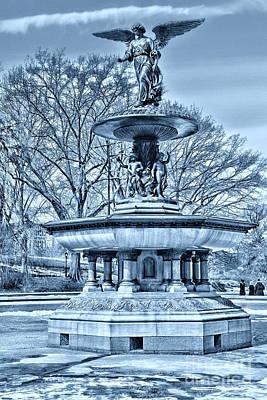Bethesda Fountain In A Cool Tone Art Print by Paul Ward