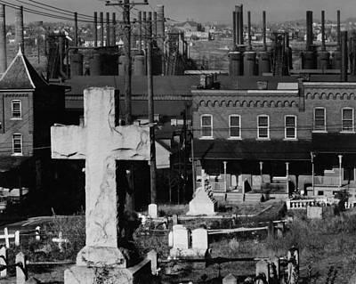 Photograph - Bethlehem Graveyard And Steel Mill Pennsylvania by Historic Photos